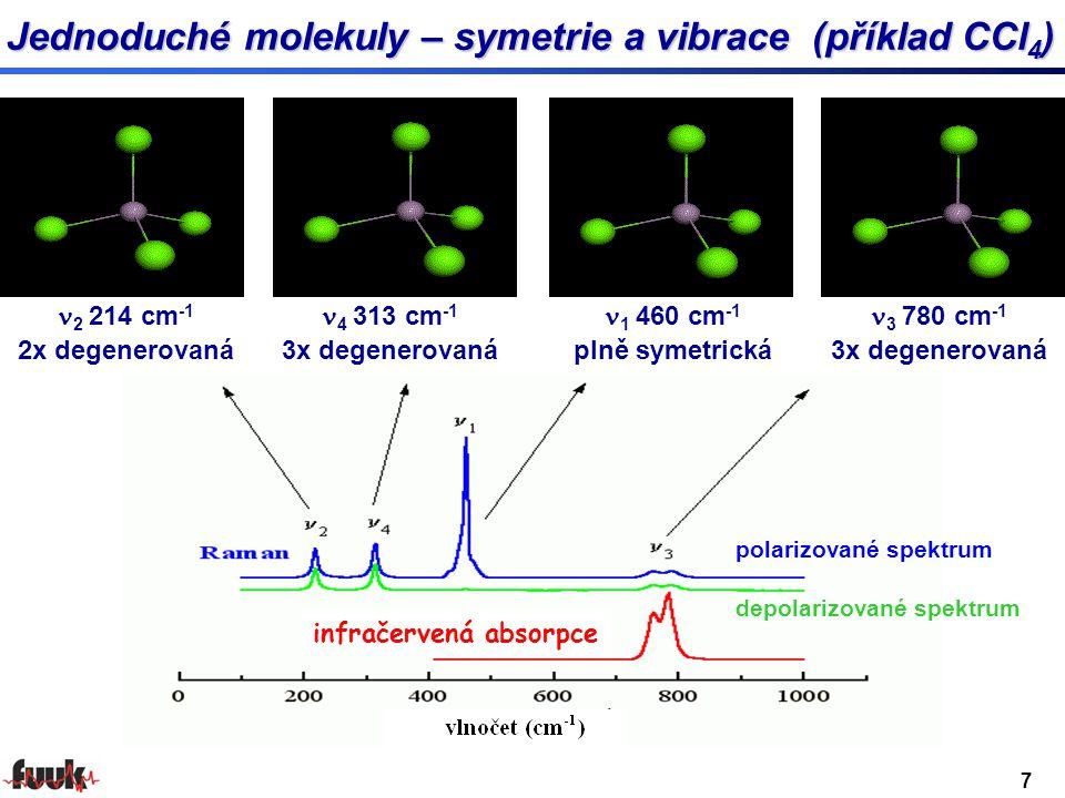 1 460 cm -1 plně symetrická 2 214 cm -1 2x degenerovaná 3 780 cm -1 3x degenerovaná 4 313 cm -1 3x degenerovaná polarizované spektrum depolarizované spektrum Jednoduché molekuly – symetrie a vibrace (příklad CCl 4 ) infračervená absorpce 7