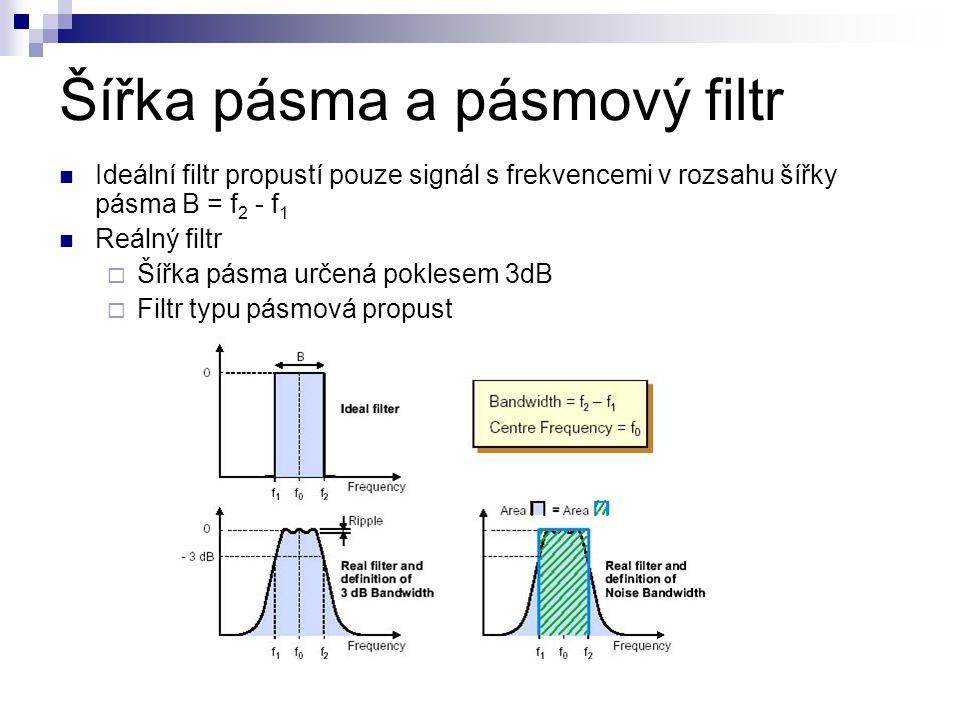 Šířka pásma a pásmový filtr Ideální filtr propustí pouze signál s frekvencemi v rozsahu šířky pásma B = f 2 - f 1 Reálný filtr  Šířka pásma určená po