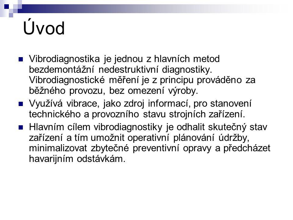 Úvod Vibrodiagnostika je jednou z hlavních metod bezdemontážní nedestruktivní diagnostiky. Vibrodiagnostické měření je z principu prováděno za běžného