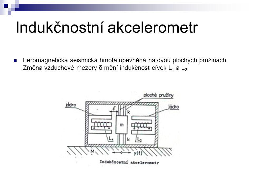 Indukčnostní akcelerometr Feromagnetická seismická hmota upevněná na dvou plochých pružinách. Změna vzduchové mezery δ mění indukčnost cívek L 1 a L 2