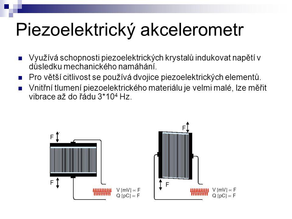 Piezoelektrický akcelerometr Využívá schopnosti piezoelektrických krystalů indukovat napětí v důsledku mechanického namáhání. Pro větší citlivost se p