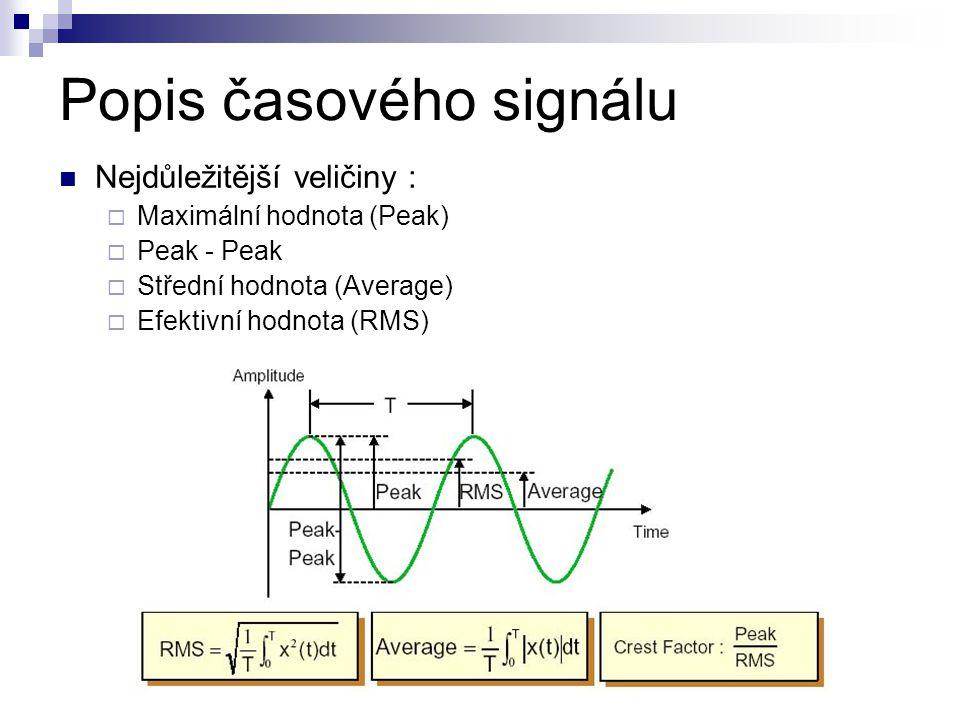 Popis časového signálu Nejdůležitější veličiny :  Maximální hodnota (Peak)  Peak - Peak  Střední hodnota (Average)  Efektivní hodnota (RMS)