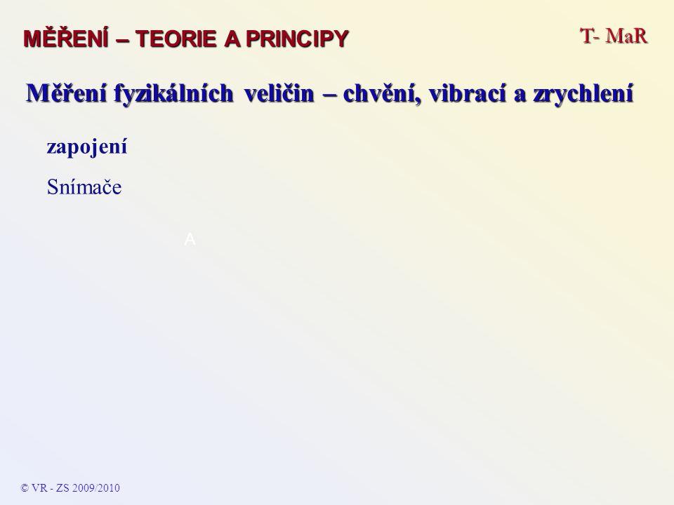 T- MaR MĚŘENÍ – TEORIE A PRINCIPY © VR - ZS 2009/2010 A Měření fyzikálních veličin – chvění, vibrací a zrychlení zapojení Snímače