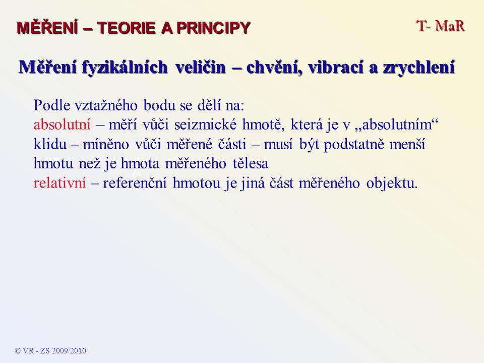 T- MaR MĚŘENÍ – TEORIE A PRINCIPY © VR - ZS 2009/2010 A Měření fyzikálních veličin – chvění, vibrací a zrychlení Podle vztažného bodu se dělí na: abso