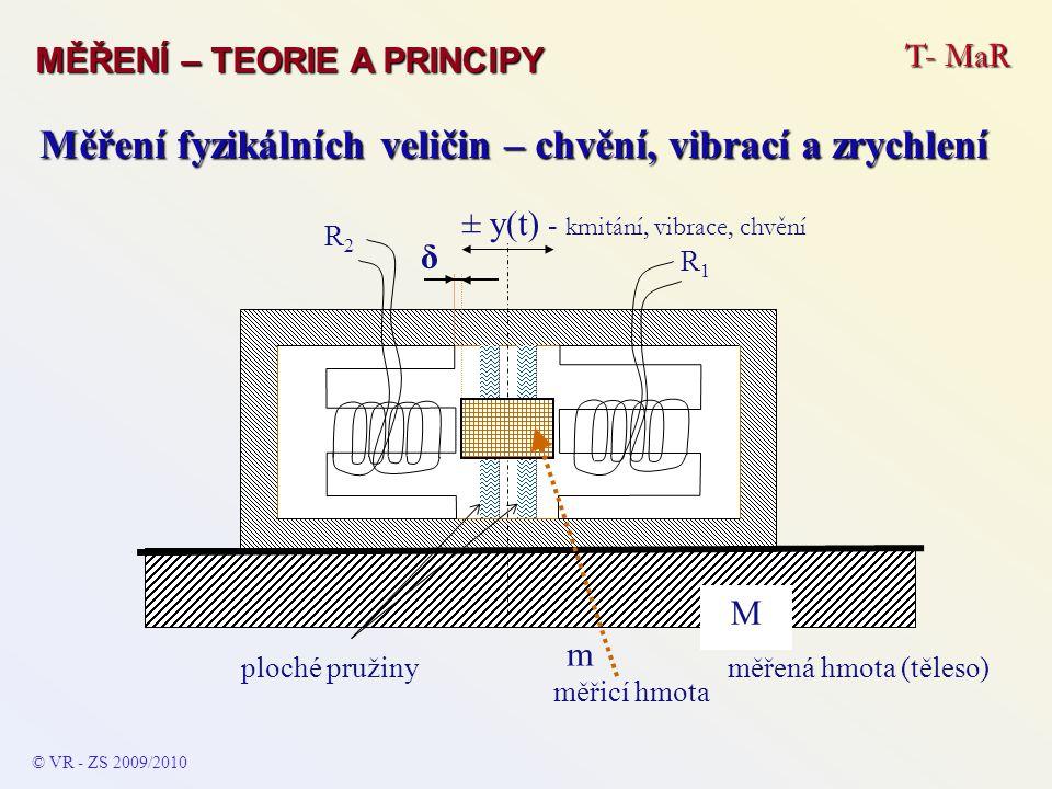 T- MaR MĚŘENÍ – TEORIE A PRINCIPY © VR - ZS 2009/2010 A Měření fyzikálních veličin – chvění, vibrací a zrychlení Elektrické zapojení Snímače vhodné konstrukce a parametrů (v praxi lze konstatovat, že jsou to skoro všechny dnešní výrobky) lze použít zapojení umožňující měřit všechny tři veličiny jediným snímačem.