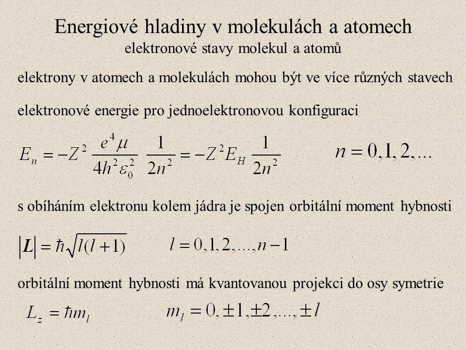Energiové hladiny v molekulách a atomech elektronové stavy molekul a atomů elektrony v atomech a molekulách mohou být ve více různých stavech elektron