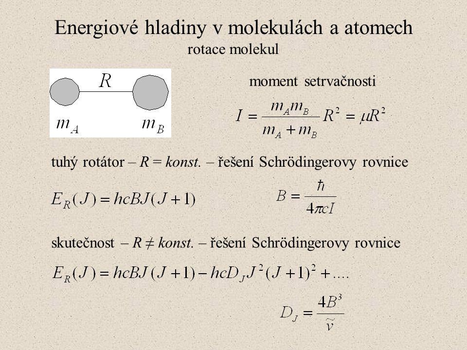 Energiové hladiny v molekulách a atomech rotace molekul moment setrvačnosti tuhý rotátor – R = konst. – řešení Schrödingerovy rovnice skutečnost – R ≠
