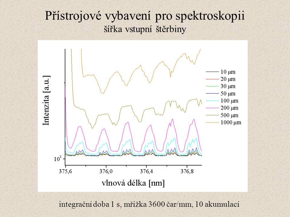 Přístrojové vybavení pro spektroskopii šířka vstupní štěrbiny integrační doba 1 s, mřížka 3600 čar/mm, 10 akumulací