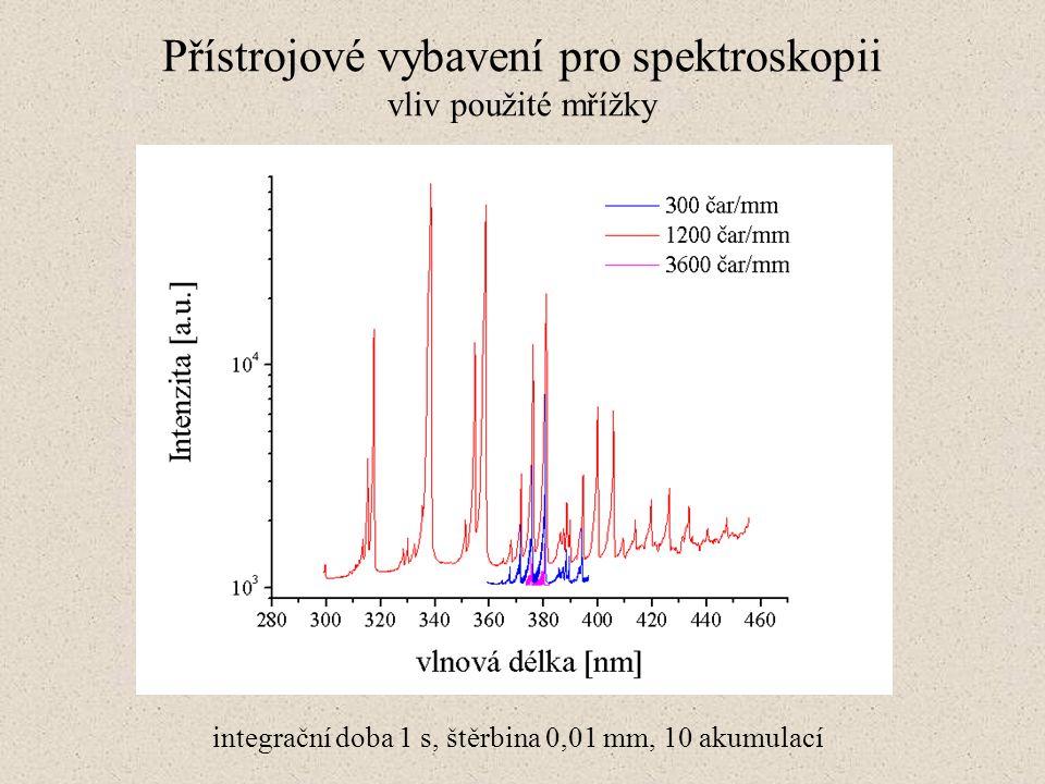 Přístrojové vybavení pro spektroskopii vliv použité mřížky integrační doba 1 s, štěrbina 0,01 mm, 10 akumulací