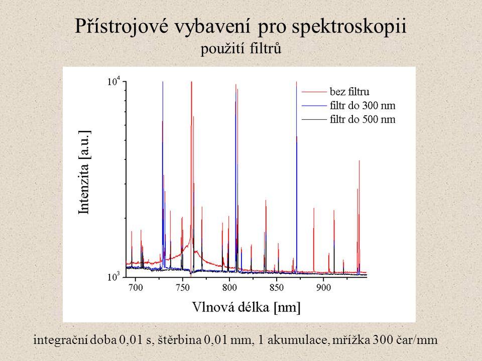 Přístrojové vybavení pro spektroskopii použití filtrů integrační doba 0,01 s, štěrbina 0,01 mm, 1 akumulace, mřížka 300 čar/mm