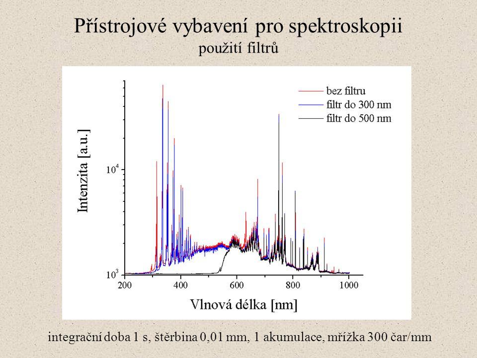 Přístrojové vybavení pro spektroskopii použití filtrů integrační doba 1 s, štěrbina 0,01 mm, 1 akumulace, mřížka 300 čar/mm