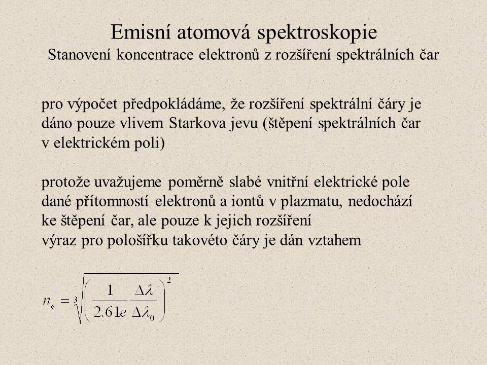 Emisní atomová spektroskopie Stanovení koncentrace elektronů z rozšíření spektrálních čar pro výpočet předpokládáme, že rozšíření spektrální čáry je d