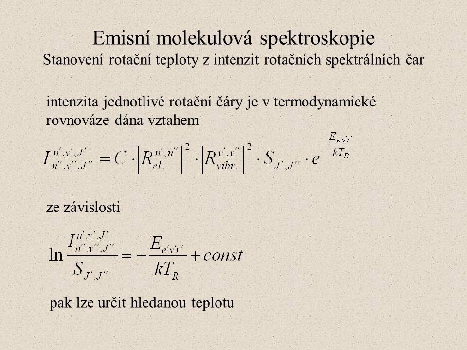 Emisní molekulová spektroskopie Stanovení rotační teploty z intenzit rotačních spektrálních čar intenzita jednotlivé rotační čáry je v termodynamické