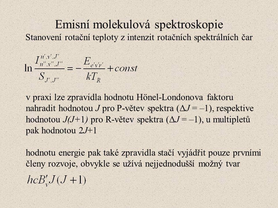 Emisní molekulová spektroskopie Stanovení rotační teploty z intenzit rotačních spektrálních čar v praxi lze zpravidla hodnotu Hönel-Londonova faktoru