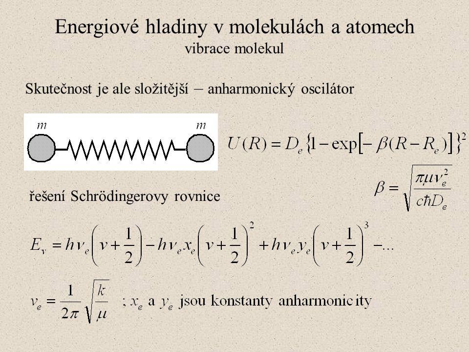 Energiové hladiny v molekulách a atomech vibrace molekul Skutečnost je ale složitější – anharmonický oscilátor řešení Schrödingerovy rovnice