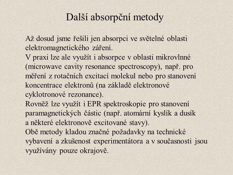 Další absorpční metody Až dosud jsme řešili jen absorpci ve světelné oblasti elektromagnetického záření. V praxi lze ale využít i absorpce v oblasti m