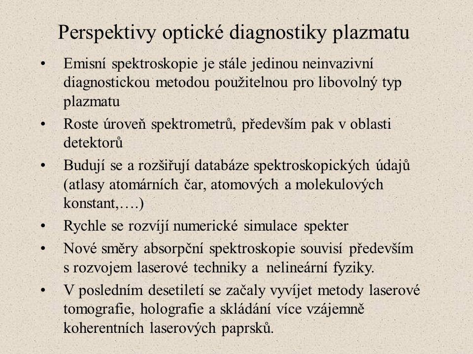 Perspektivy optické diagnostiky plazmatu Emisní spektroskopie je stále jedinou neinvazivní diagnostickou metodou použitelnou pro libovolný typ plazmat