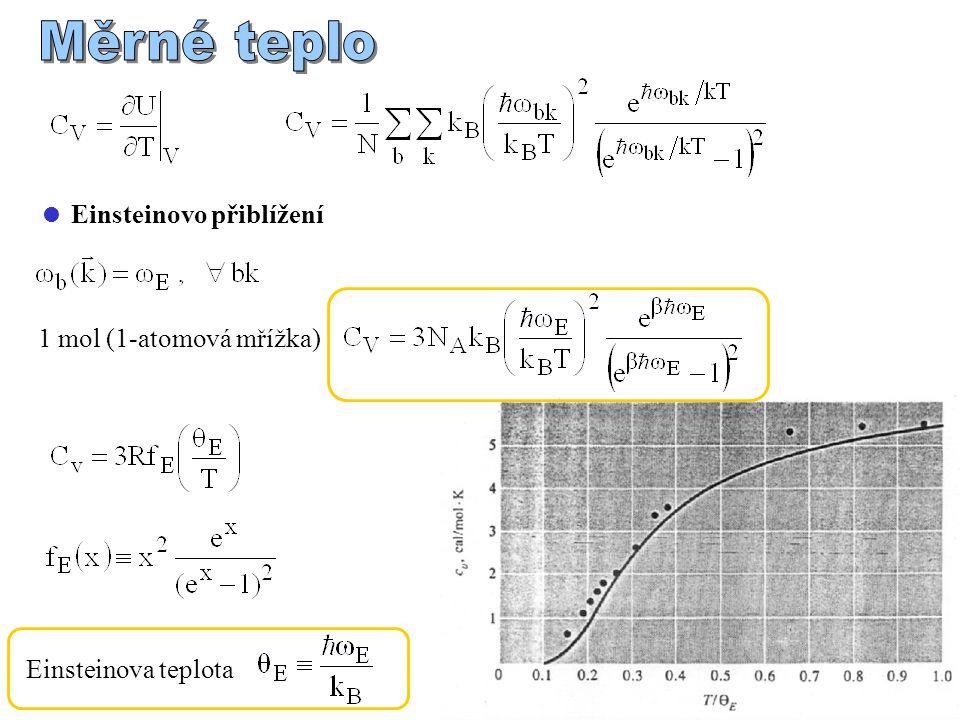  Einsteinovo přiblížení 1 mol (1-atomová mřížka) Einsteinova teplota