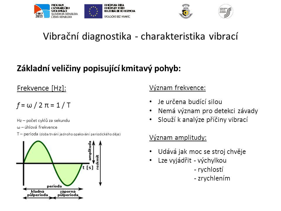 Vibrační diagnostika - charakteristika vibrací Základní veličiny popisující Frekvence [Hz]: f = ω / 2 π = 1 / T Hz – počet cyklů za sekundu ω – úhlová frekvence T – perioda (doba trvání jednoho opakování periodického děje) kmitavý pohyb: Význam frekvence: Je určena budící silou Nemá význam pro detekci závady Slouží k analýze příčiny vibrací Význam amplitudy: Udává jak moc se stroj chvěje Lze vyjádřit - výchylkou - rychlostí - zrychlením