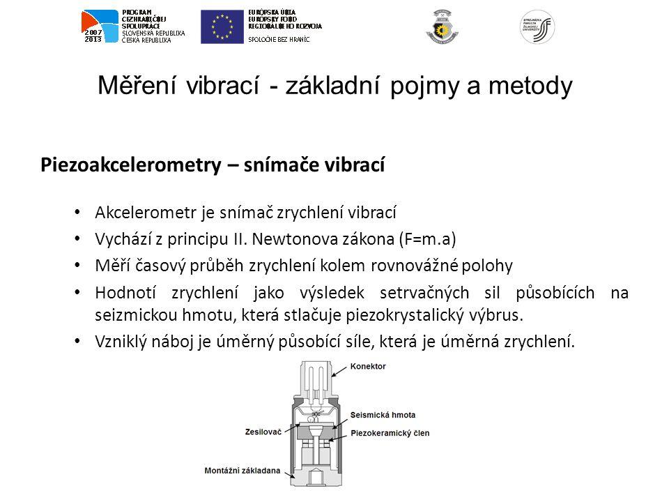 Měření vibrací - základní pojmy a metody Piezoakcelerometry – snímače vibrací Akcelerometr je snímač zrychlení vibrací Vychází z principu II. Newtonov