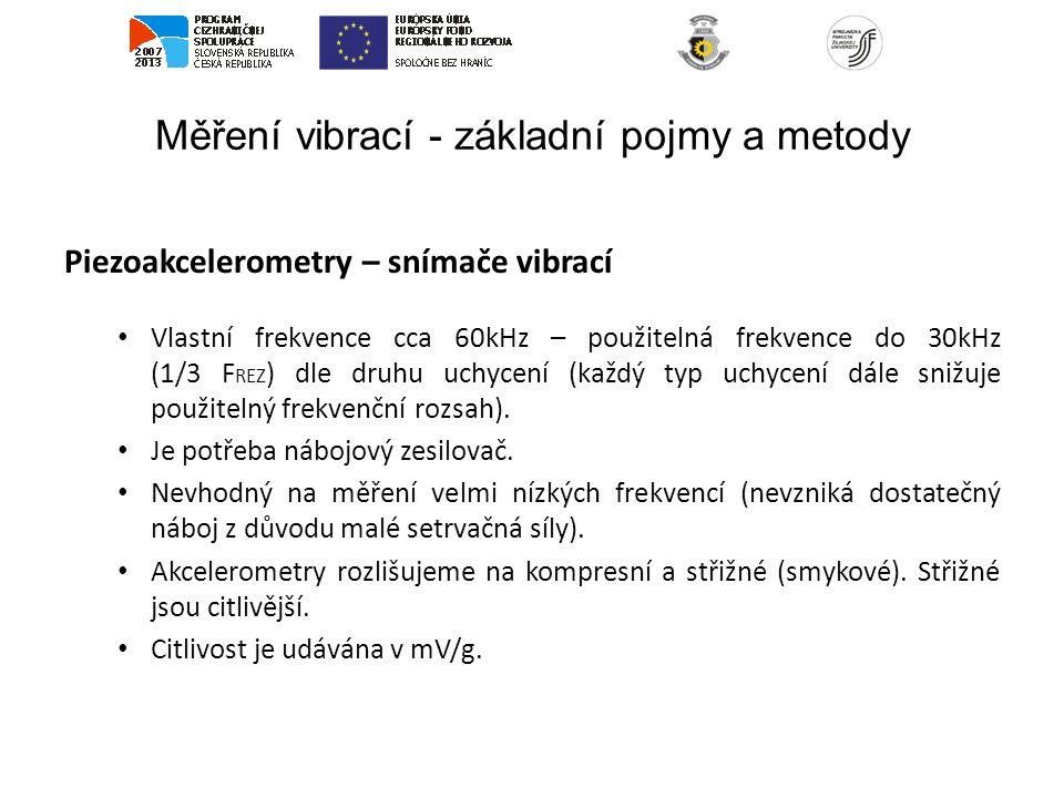 Měření vibrací - základní pojmy a metody Piezoakcelerometry – snímače vibrací Vlastní frekvence cca 60kHz – použitelná frekvence do 30kHz (1/3 F REZ )