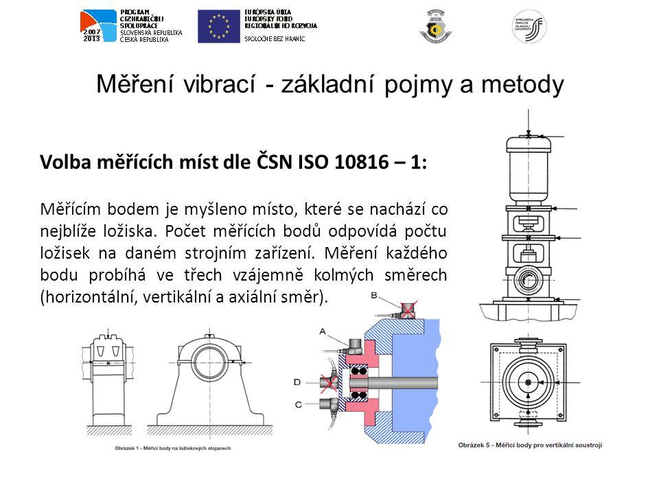 Měření vibrací - základní pojmy a metody Volba měřících míst dle ČSN ISO 10816 – 1: Měřícím bodem je myšleno místo, které se nachází co nejblíže ložis