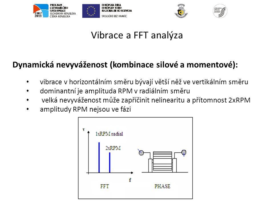 Vibrace a FFT analýza Dynamická nevyváženost (kombinace silové a momentové): vibrace v horizontálním směru bývají větší něž ve vertikálním směru dominantní je amplituda RPM v radiálním směru velká nevyváženost může zapříčinit nelinearitu a přítomnost 2xRPM amplitudy RPM nejsou ve fázi