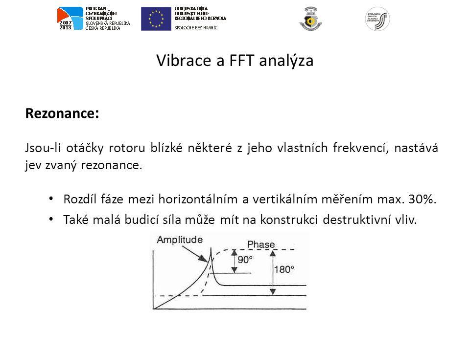 Vibrace a FFT analýza Rezonance : Jsou-li otáčky rotoru blízké některé z jeho vlastních frekvencí, nastává jev zvaný rezonance. Rozdíl fáze mezi horiz