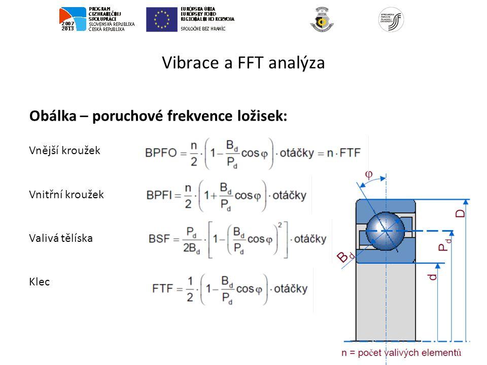 Vibrace a FFT analýza Obálka – poruchové frekvence ložisek: Vnější kroužek Vnitřní kroužek Valivá tělíska Klec