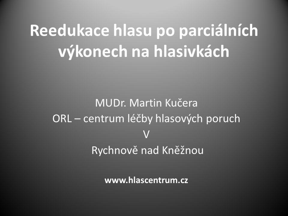 Reedukace hlasu po parciálních výkonech na hlasivkách MUDr.