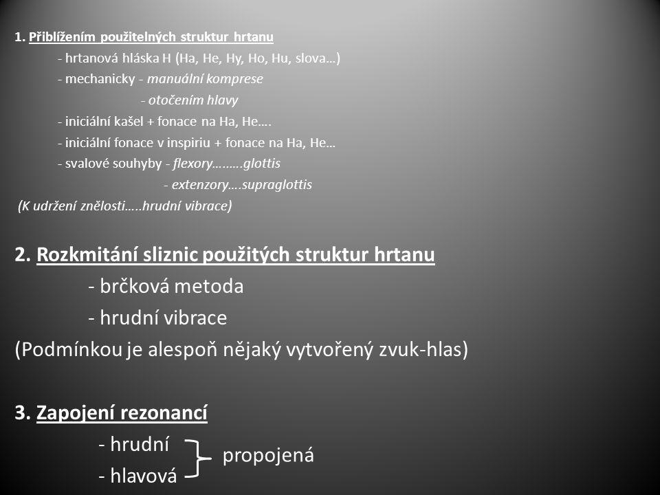1. Přiblížením použitelných struktur hrtanu - hrtanová hláska H (Ha, He, Hy, Ho, Hu, slova…) - mechanicky - manuální komprese - otočením hlavy - inici
