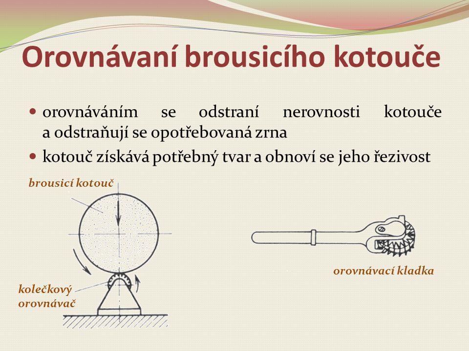 Orovnávaní brousicího kotouče orovnáváním se odstraní nerovnosti kotouče a odstraňují se opotřebovaná zrna kotouč získává potřebný tvar a obnoví se je