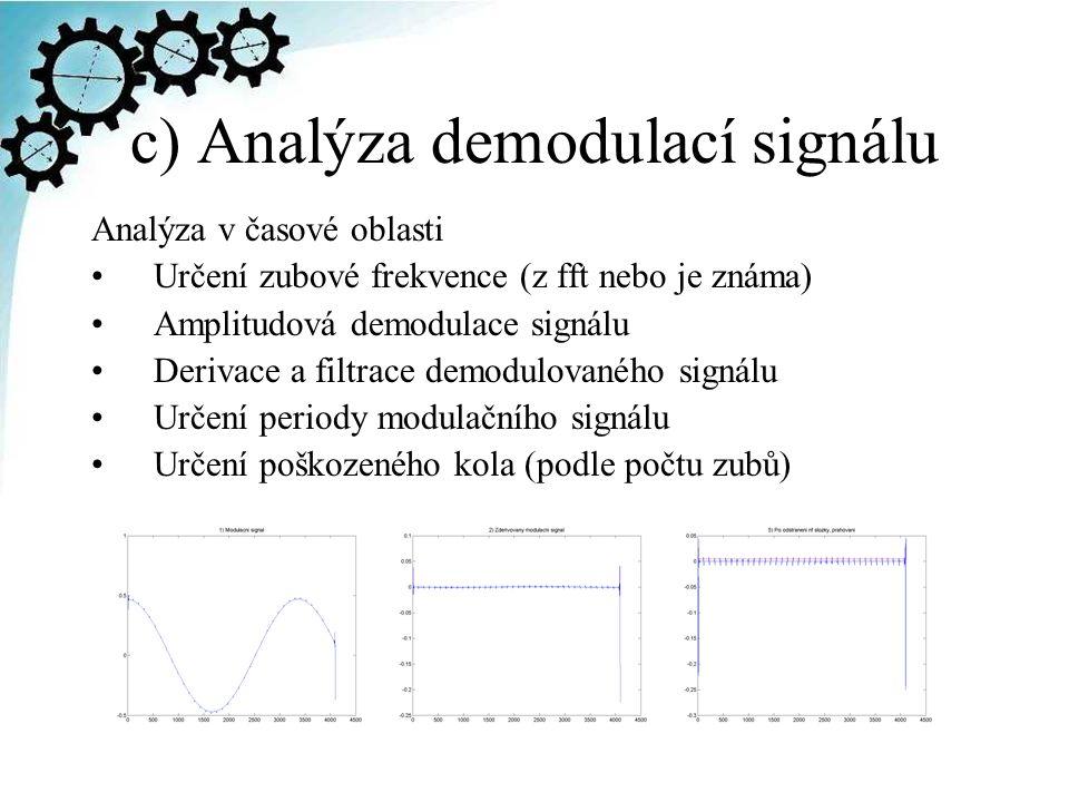 c) Analýza demodulací signálu Analýza v časové oblasti Určení zubové frekvence (z fft nebo je známa) Amplitudová demodulace signálu Derivace a filtrace demodulovaného signálu Určení periody modulačního signálu Určení poškozeného kola (podle počtu zubů)