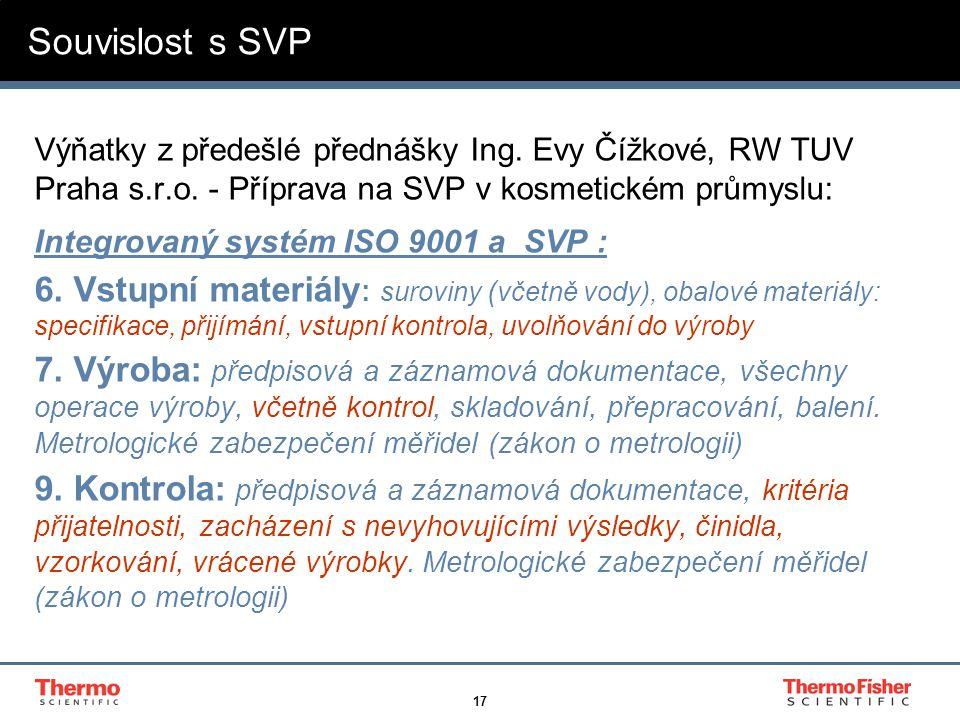 17 Souvislost s SVP Výňatky z předešlé přednášky Ing. Evy Čížkové, RW TUV Praha s.r.o. - Příprava na SVP v kosmetickém průmyslu: Integrovaný systém IS