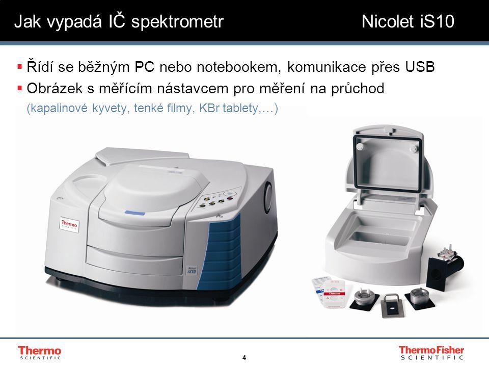 4  Řídí se běžným PC nebo notebookem, komunikace přes USB  Obrázek s měřícím nástavcem pro měření na průchod (kapalinové kyvety, tenké filmy, KBr ta