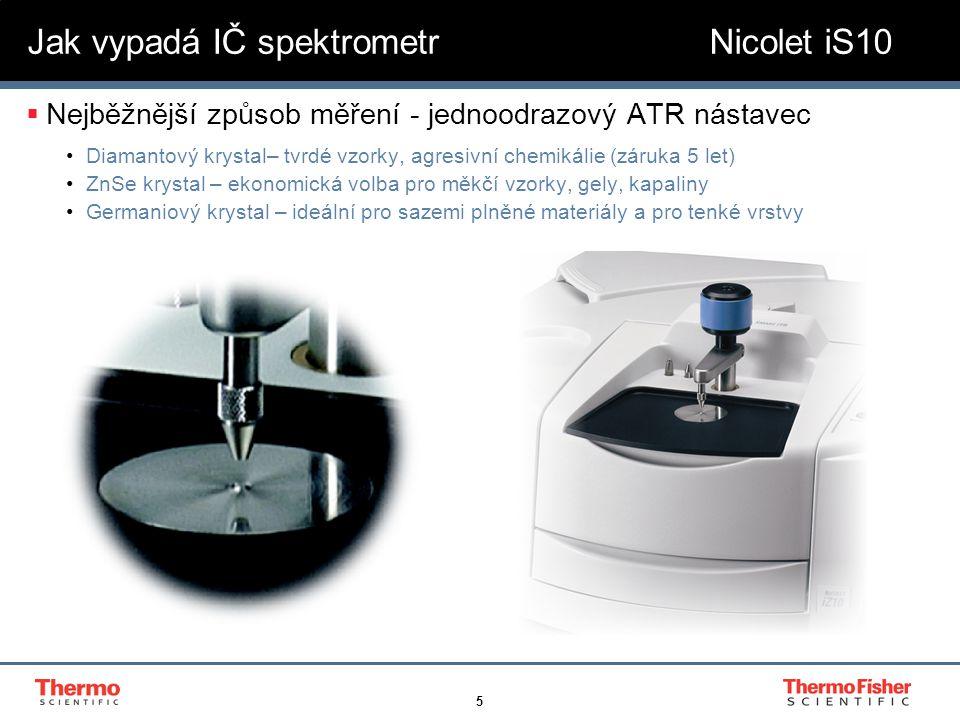 5  Nejběžnější způsob měření - jednoodrazový ATR nástavec Diamantový krystal– tvrdé vzorky, agresivní chemikálie (záruka 5 let) ZnSe krystal – ekonom