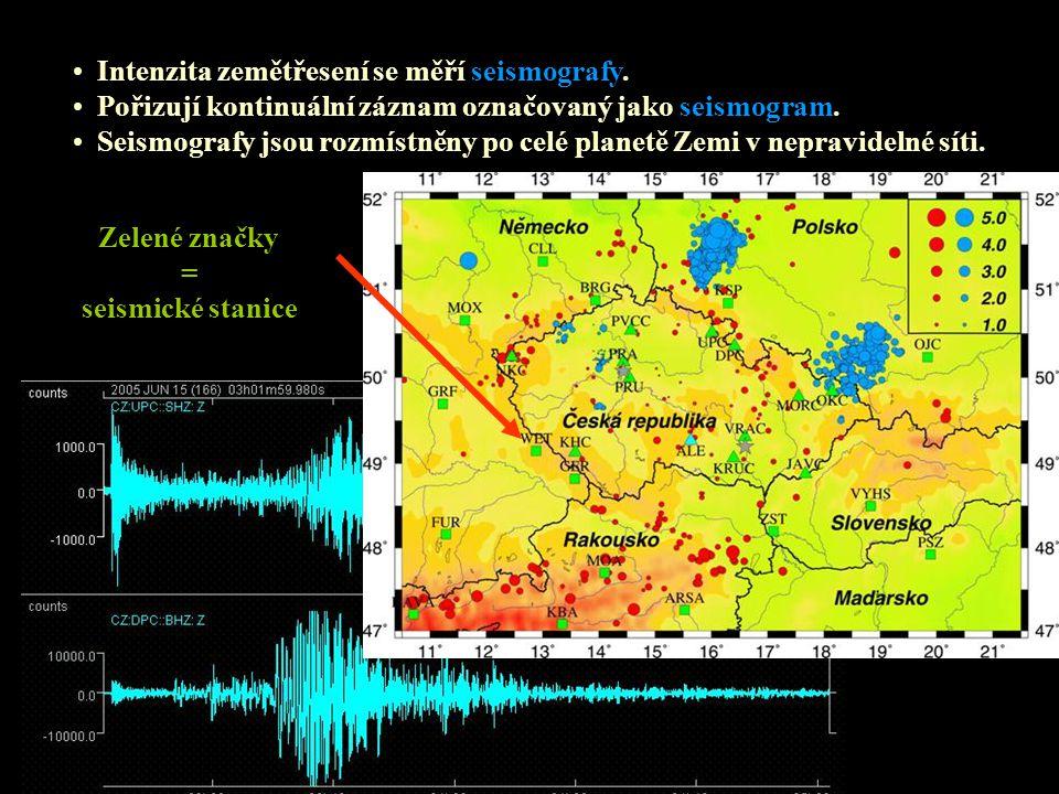 Intenzita zemětřesení se měří seismografy. Pořizují kontinuální záznam označovaný jako seismogram. Seismografy jsou rozmístněny po celé planetě Zemi v