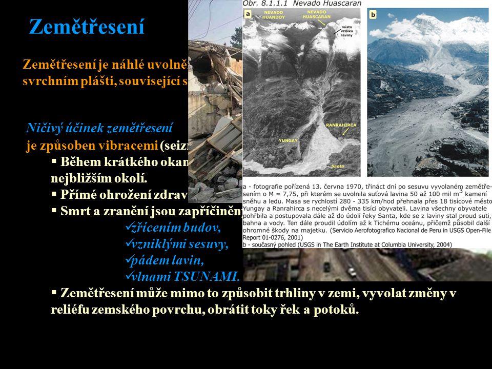 Zemětřesení Zemětřesení je náhlé uvolnění kumulované energie v zemské kůře nebo ve svrchním plášti, související s přemístěním horninových hmot. je způ