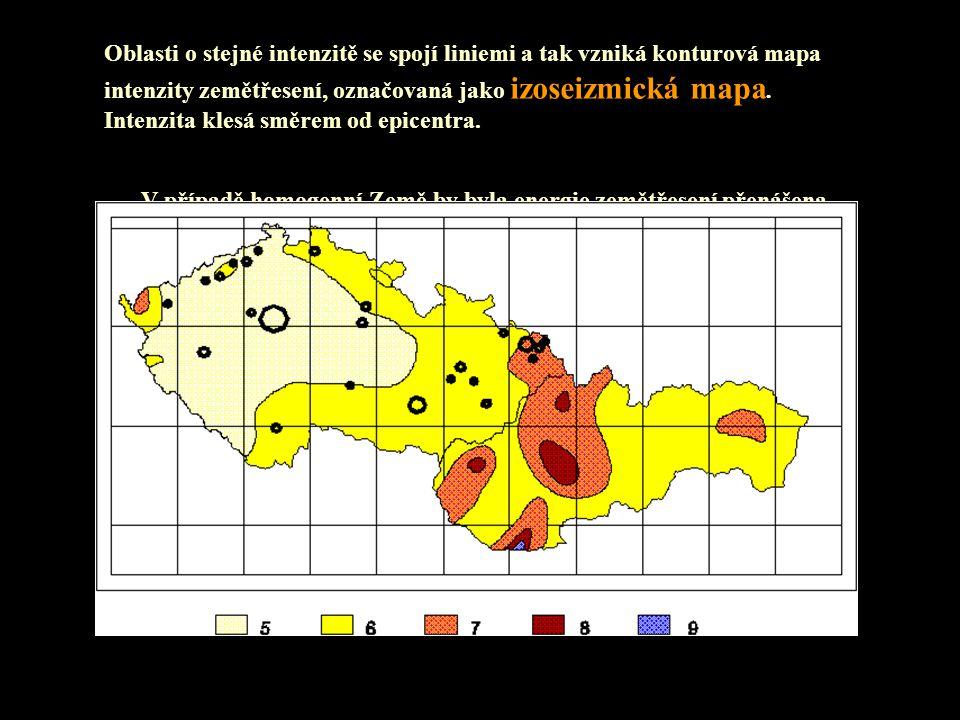 Oblasti o stejné intenzitě se spojí liniemi a tak vzniká konturová mapa intenzity zemětřesení, označovaná jako izoseizmická mapa. Intenzita klesá směr