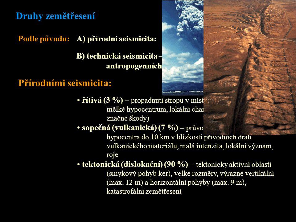 Druhy zemětřesení Podle původu: A) přírodní seismicita: B) technická seismicita – vzniká kombinací přírodních a antropogenních faktorů Přírodními seismicita: řítivá (3 %) – propadnutí stropů v místech podzemních prostor, mělké hypocentrum, lokální charakter (mohou být ale značné škody) sopečná (vulkanická) (7 %) – průvodní jev sopečné činnosti, hypocentra do 10 km v blízkosti přívodních drah vulkanického materiálu, malá intenzita, lokální význam, roje tektonická (dislokační) (90 %) – tektonicky aktivní oblasti (smykový pohyb ker), velké rozměry, výrazné vertikální (max.