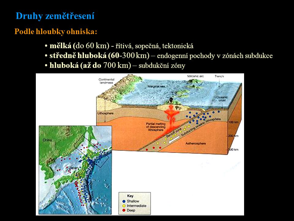 mělká (do 60 km) - řítivá, sopečná, tektonická středně hluboká (60-300 km) – endogenní pochody v zónách subdukce hluboká (až do 700 km) – subdukční zóny Druhy zemětřesení Podle hloubky ohniska: