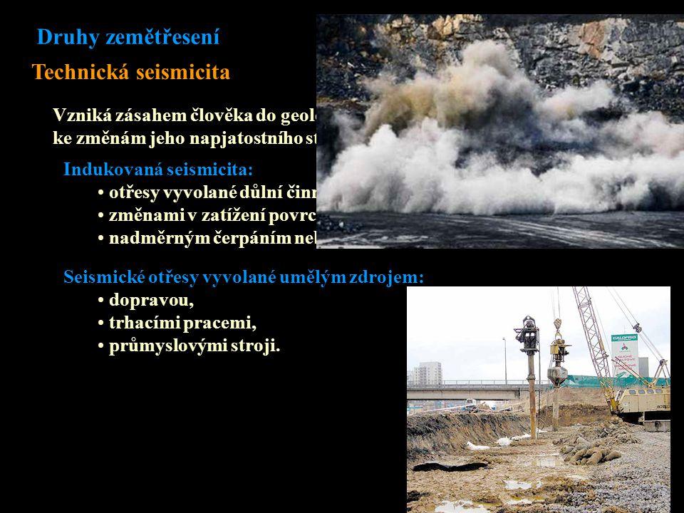 Indukovaná seismicita: otřesy vyvolané důlní činností (horské otřesy), změnami v zatížení povrchu, nadměrným čerpáním nebo začerpáváním podzemních tekutin Seismické otřesy vyvolané umělým zdrojem: dopravou, trhacími pracemi, průmyslovými stroji.