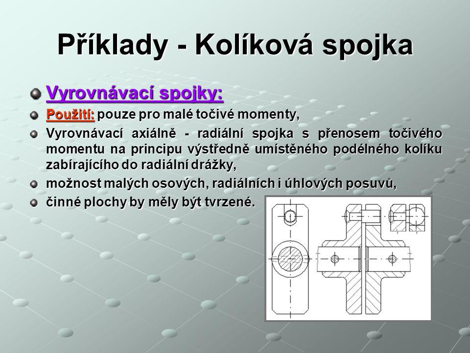 Příklady - Kolíková spojka Vyrovnávací spojky: Použití: pouze pro malé točivé momenty, Vyrovnávací axiálně - radiální spojka s přenosem točivého momen