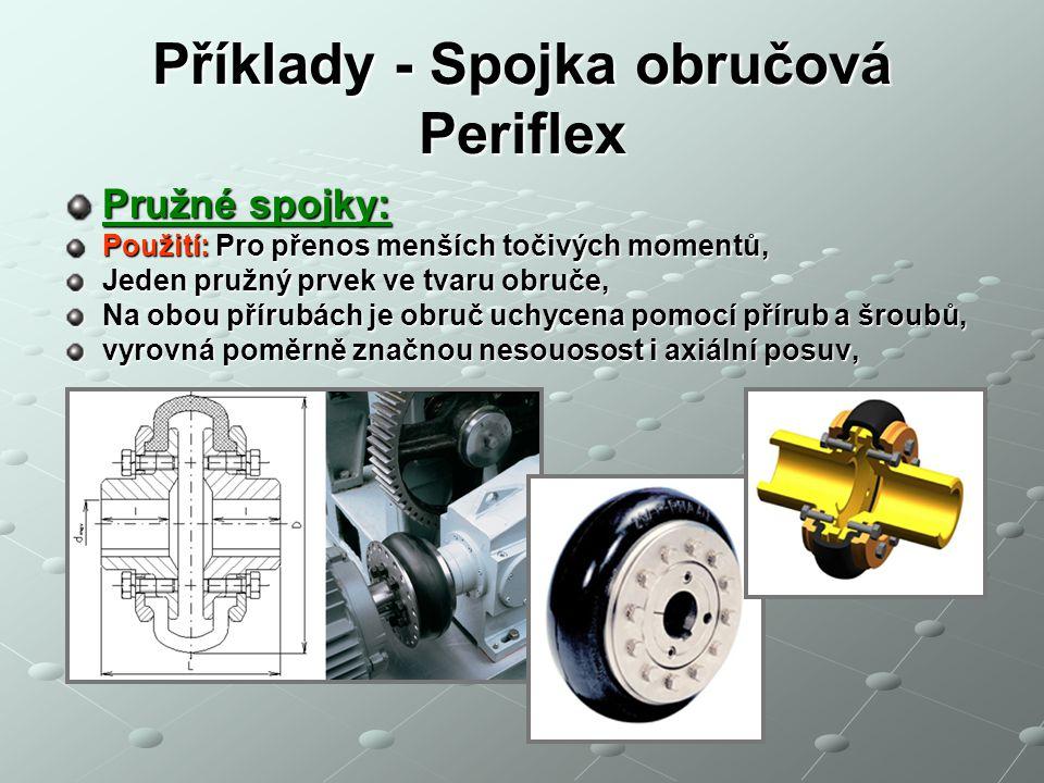 Příklady - Spojka obručová Periflex Pružné spojky: Použití: Pro přenos menších točivých momentů, Jeden pružný prvek ve tvaru obruče, Na obou přírubách