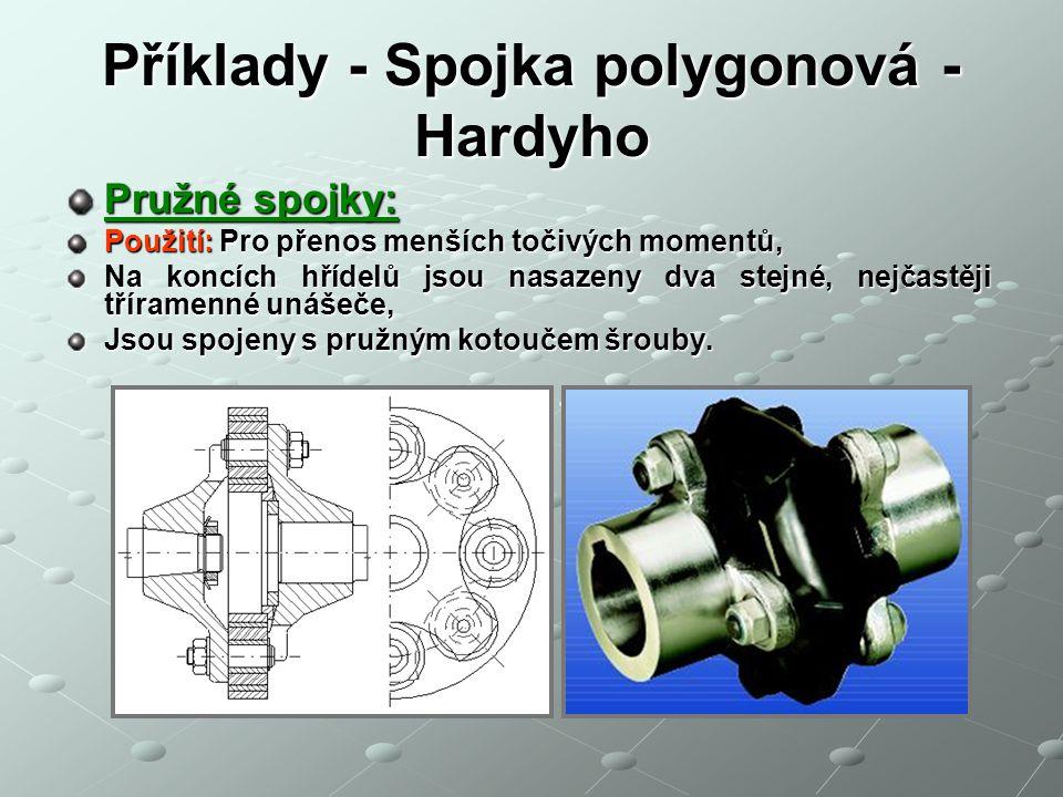 Příklady - Spojka polygonová - Hardyho Pružné spojky: Použití: Pro přenos menších točivých momentů, Na koncích hřídelů jsou nasazeny dva stejné, nejča