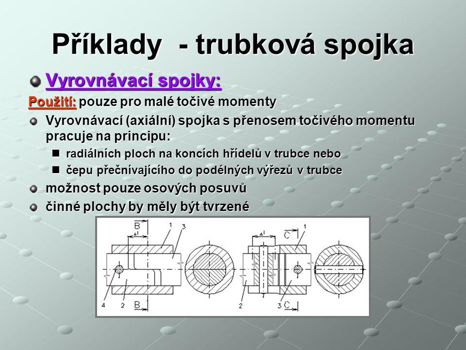 Příklady - trubková spojka Vyrovnávací spojky: Použití: pouze pro malé točivé momenty Vyrovnávací (axiální) spojka s přenosem točivého momentu pracuje