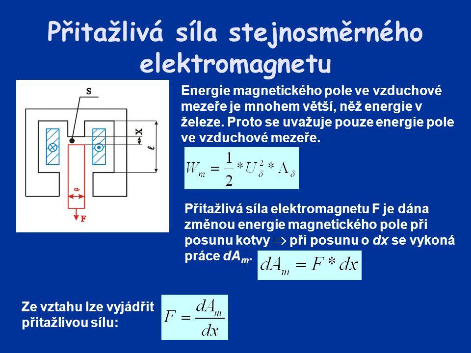 Přitažlivá síla stejnosměrného elektromagnetu Energie magnetického pole ve vzduchové mezeře je mnohem větší, něž energie v železe. Proto se uvažuje po