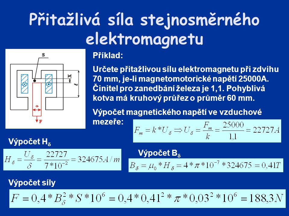 Přitažlivá síla stejnosměrného elektromagnetu Příklad: Určete přitažlivou sílu elektromagnetu při zdvihu 70 mm, je-li magnetomotorické napětí 25000A.
