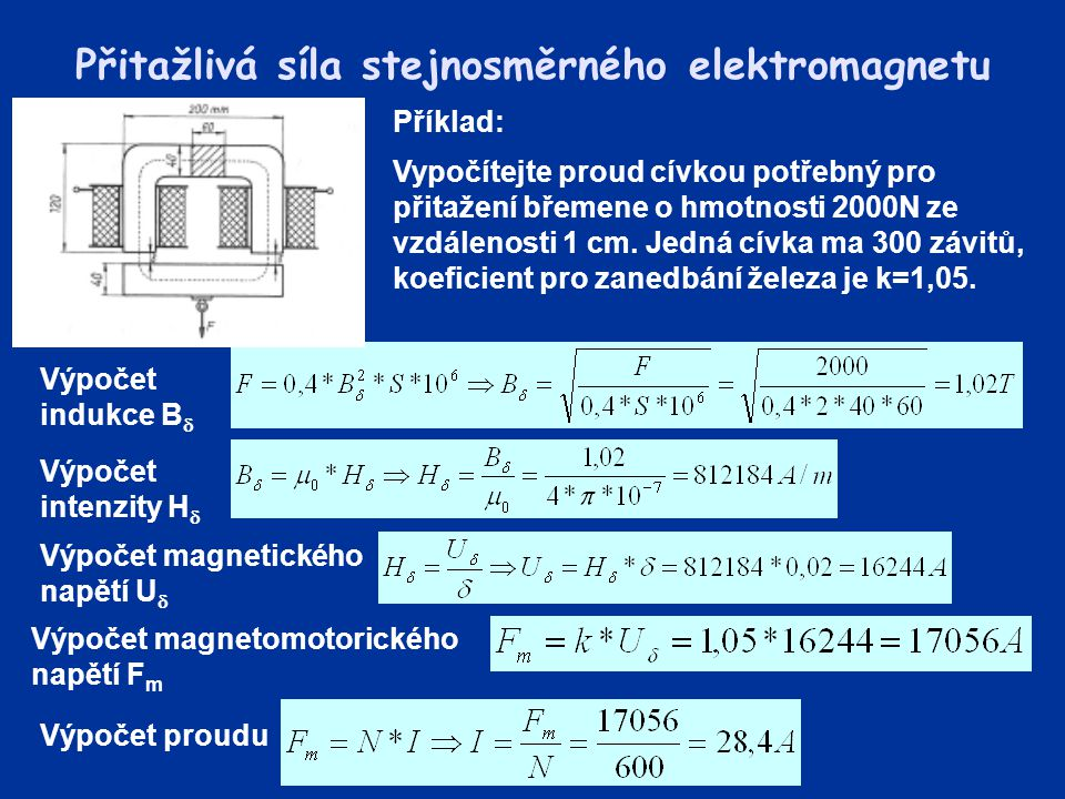 Přitažlivá síla stejnosměrného elektromagnetu Příklad: Vypočítejte proud cívkou potřebný pro přitažení břemene o hmotnosti 2000N ze vzdálenosti 1 cm.