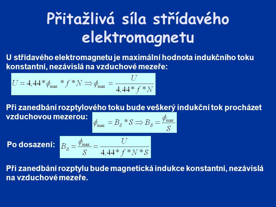 Přitažlivá síla střídavého elektromagnetu U střídavého elektromagnetu je maximální hodnota indukčního toku konstantní, nezávislá na vzduchové mezeře: